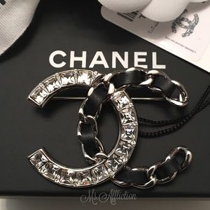 CHANEL Authentic CC Crystal Leather Chain Brooch